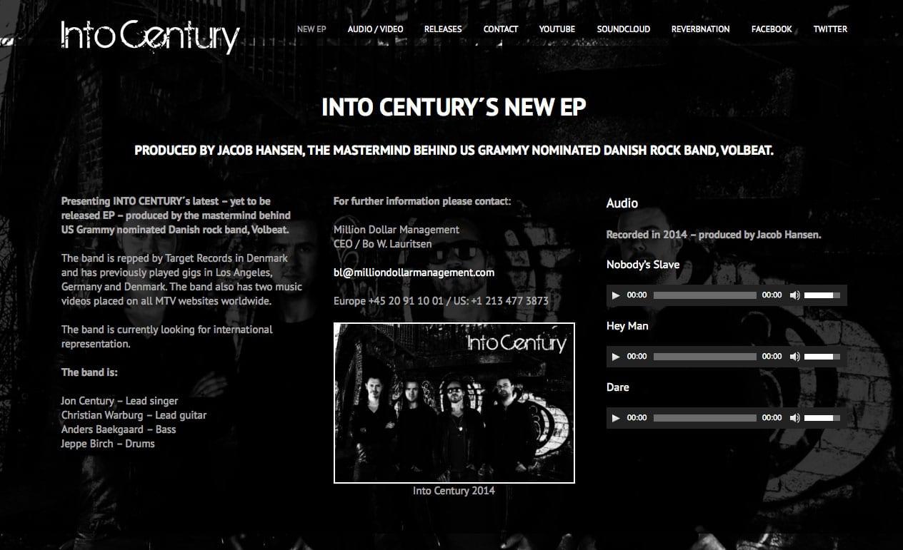 Into Century - nyt website produceret af Tendentz